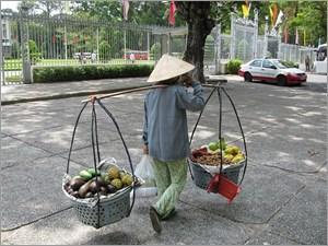 果物を運ぶ女性